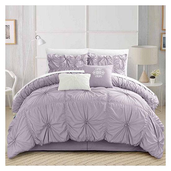 Chic Home Halpert 6-pc. Midweight Embroidered Comforter Set