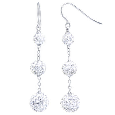 Sparkle Allure Clear Pave Crystal  3 Ball Silver Over Brass Drop Earrings