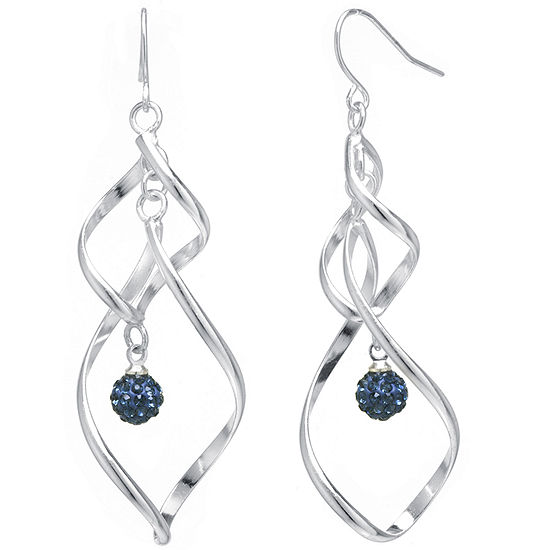 Sparkle Allure Blue Crystal Ball Twist Silver Over Brass Drop Earrings