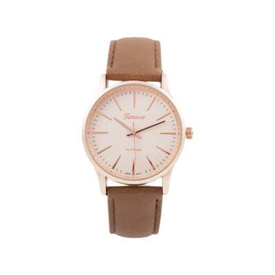 Geneva Platinum Womens Brown Strap Watch-15031