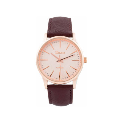 Geneva Platinum Womens Red Strap Watch-15031