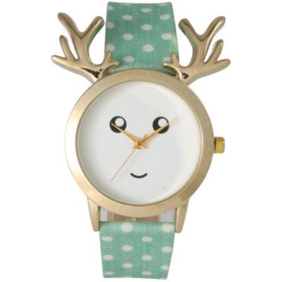 Olivia Pratt Reindeer Womens Green Strap Watch-515108mint
