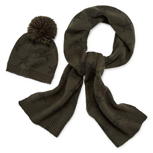 Mixit Star Pom Beanie And Scarf 2-pc. Cold Weather Set