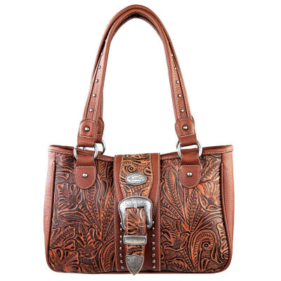 Montana West Elena Tooled With Buckle Tote Bag