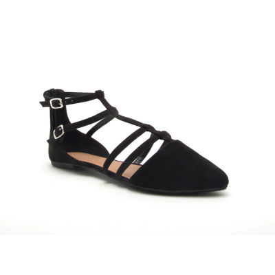 Qupid Womens Pika-191x Ballet Flats Buckle Pointed Toe