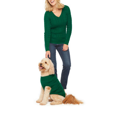 St. John's Bay Long Sleeve Cable V-Neck Pullover Sweater