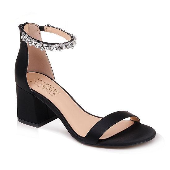 American Glamour Badgley Mischka Womens Charm Pumps Zip Open Toe Block Heel