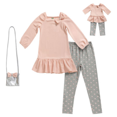 Dollie And Me Blush Knit Legging Set with Purse - Girls' 6-12