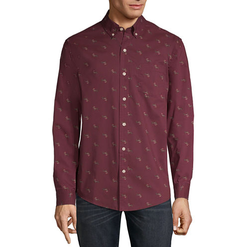St. John's Bay Mens Collar Neck Long Sleeve Holiday Button-Front Shirt