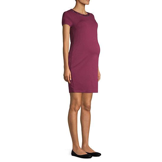 By Artisan Short Sleeve Ponte Dress - Maternity