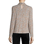 Worthington Womens Twist Collar Long Sleeve Blouse