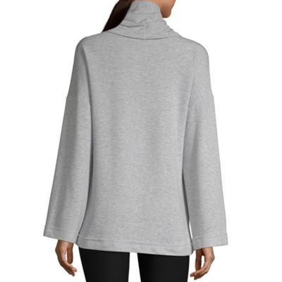 Xersion Cowl Bell Slv Pullover Womens Cowl Neck Long Sleeve Sweatshirt