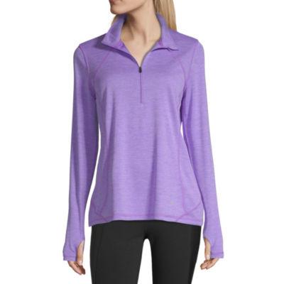 Xersion Performance 1/2 Zip Womens Mock Neck Long Sleeve Quarter-Zip Pullover