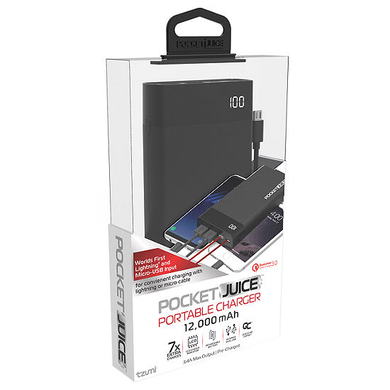 Tzumi 12,000 mAh LCD Pocket Juice