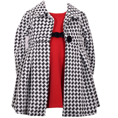 Bonnie Jean Long Sleeve Houndstooth Coat Over Dress Set - Baby Girls