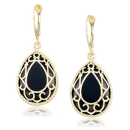 Genuine Black Onyx 10K Gold Drop Earrings
