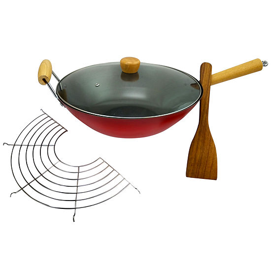 "Gran Via 14"" Wok W/Lid, Rack and Spatula"