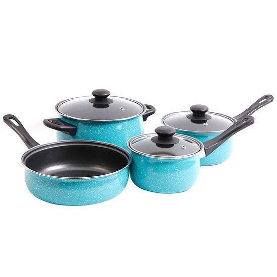 Casselman 7 pc - Turquoise - Enamel Look - Bakelite Snow Handle - Carbon Steel Cookware Set