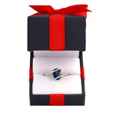 Womens 1/10 CT. T.W. Lab Created Blue Sapphire 10K Gold Cocktail Ring