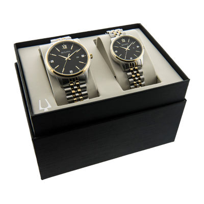 Bulova Mens And Womens Two Tone Stainless Steel 2-pc. Watch Boxed Set-98x125