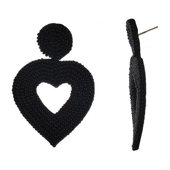 Bijoux Bar Seedbead Black Heart Drop Earrings