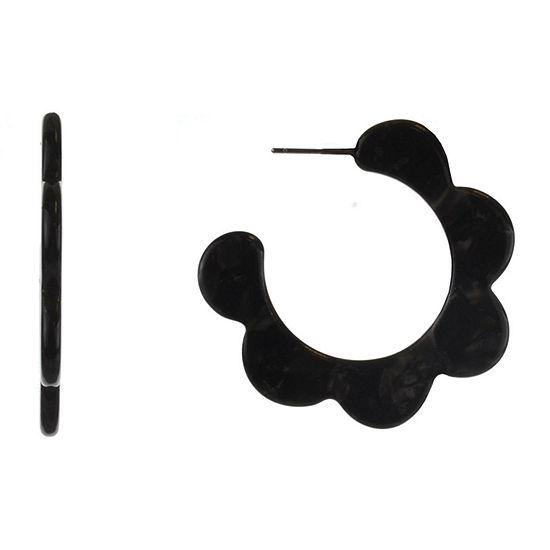 Bijoux Bar Resin Black Hoop Earrings