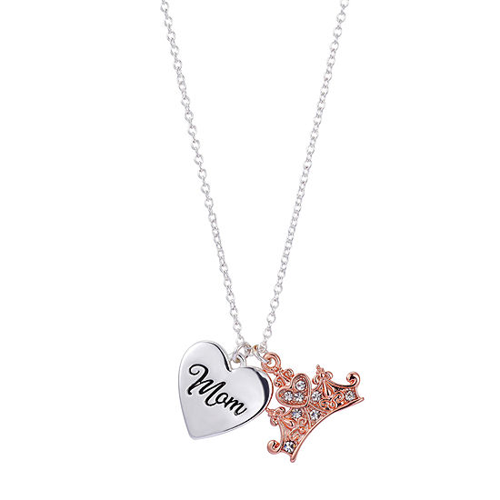 Disney Mom Forever A Princess Crown Crystal Pure Silver Over Brass 18 Inch Cable Pendant Necklace