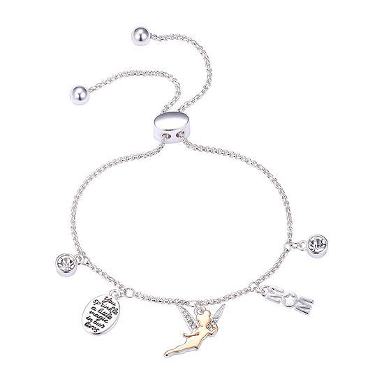 Disney Mom Tinkerbell Silver Over Brass 9 3/4 Inch Solid Bolo Bracelet