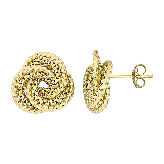 10K Gold 15mm Knot Hoop Earrings