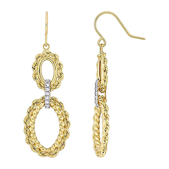 14K Gold Oblong Chandelier Earrings