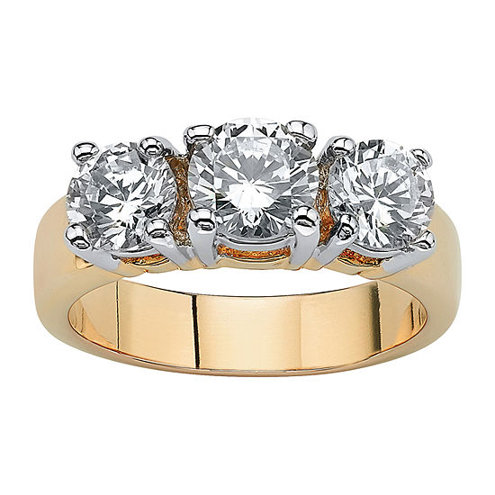 Womens 2 1/4 CT. T.W. White Cubic Zirconia 14K Gold Over Brass Engagement Ring