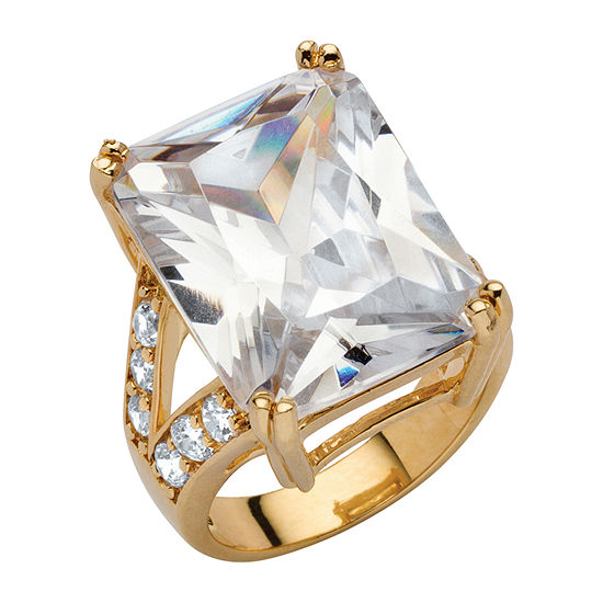 DiamonArt® Womens White Cubic Zirconia 18K Gold Over Brass Cocktail Ring