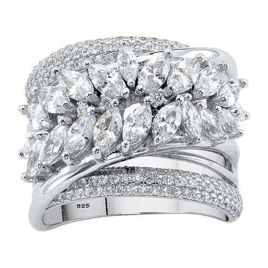 DiamonArt® Womens 4 1/4 CT. T.W. White Cubic Zirconia Platinum Over Silver Cocktail Ring