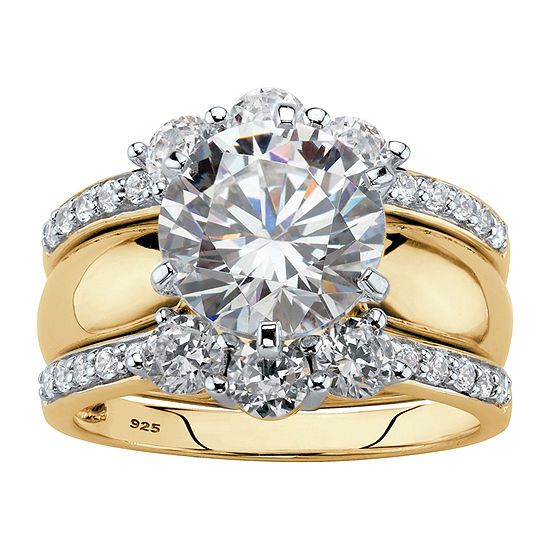 Diamonart Womens 4 3/4 CT. T.W. White Cubic Zirconia 18K Gold Over Silver Bridal Set