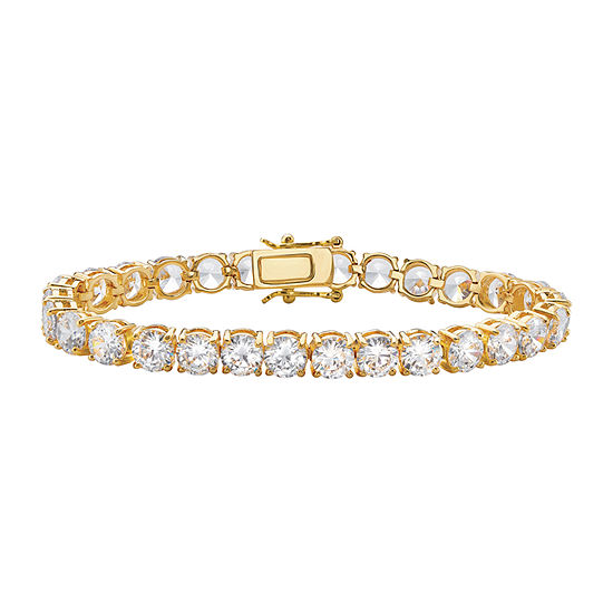 White Cubic Zirconia 14K Gold Over Brass 7.5 Inch Tennis Bracelet