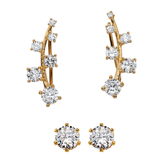Diamonart 2 1/5 CT. T.W. White Cubic Zirconia 14K Gold Over Silver Ear Pins