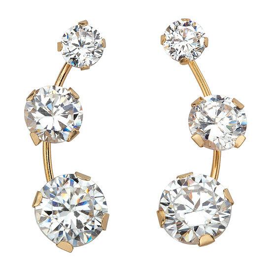 Diamonart 1 3/4 CT. T.W. White Cubic Zirconia 10K Gold Ear Pins