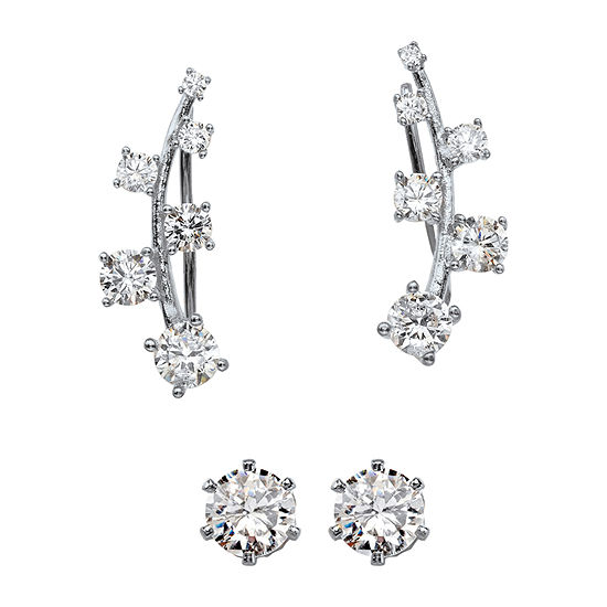 DiamonArt® 1 3/4 CT. T.W. White Cubic Zirconia Sterling Silver Ear Pins