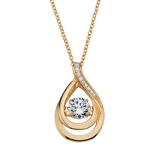 DiamonArt® Womens 1 1/10 CT. T.W.  White Cubic Zirconia 14K Gold Over Silver Pendant Necklace