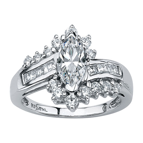 Diamonart Womens 1 5/8 CT. T.W. White Cubic Zirconia Platinum Over Silver Engagement Ring