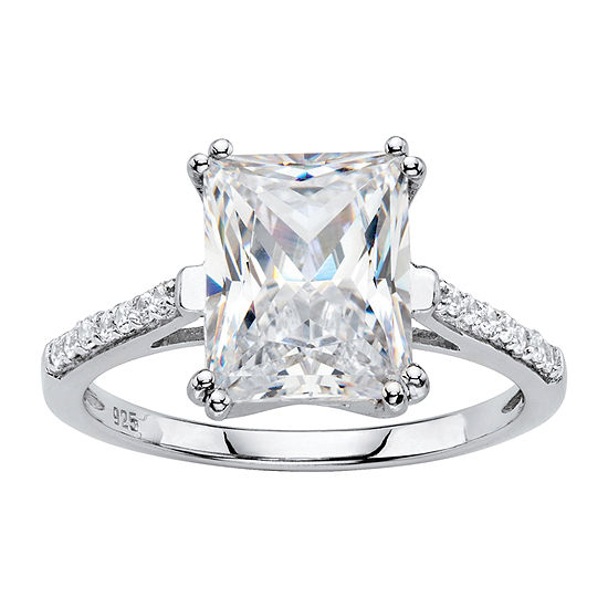 DiamonArt® Womens 4 CT. T.W. White Cubic Zirconia Platinum Over Silver Engagement Ring