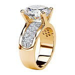 Womens White Cubic Zirconia 14K Gold Over Brass Engagement Ring
