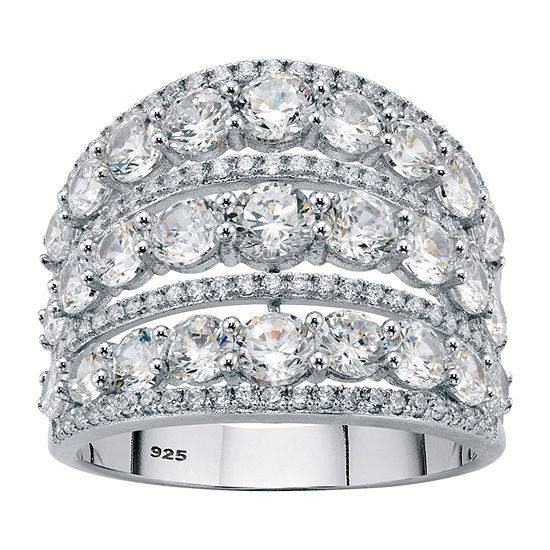 Diamonart Womens 5 1/4 CT. T.W. White Cubic Zirconia Sterling Silver Cocktail Ring