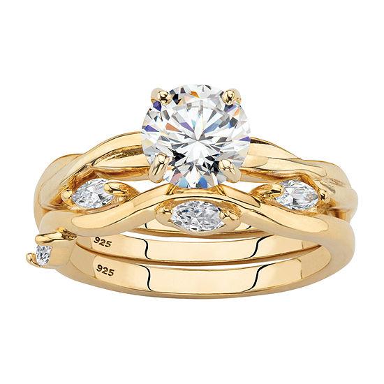Diamonart Womens 1 7/8 CT. T.W. White Cubic Zirconia 14K Gold Over Silver Bridal Set