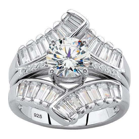 DiamonArt® Womens 3 1/4 CT. T.W. White Cubic Zirconia Platinum Over Silver Bridal Set