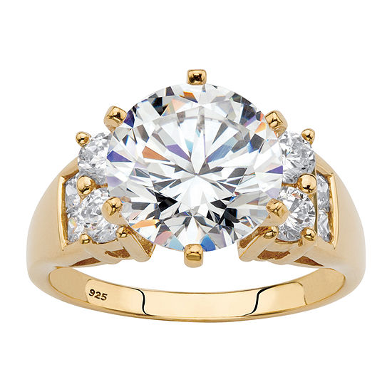DiamonArt® Womens 4 3/4 CT. T.W. White Cubic Zirconia 14K Gold Over Silver Engagement Ring
