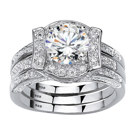 Diamonart Womens 2 1/3 CT. T.W. White Cubic Zirconia Platinum Over Silver Bridal Set