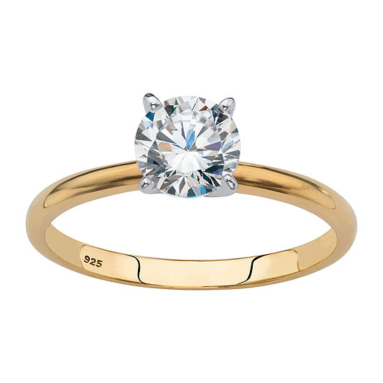 DiamonArt® Womens 1 1/10 CT. T.W.  White Cubic Zirconia 18K Gold Over Silver Engagement Ring