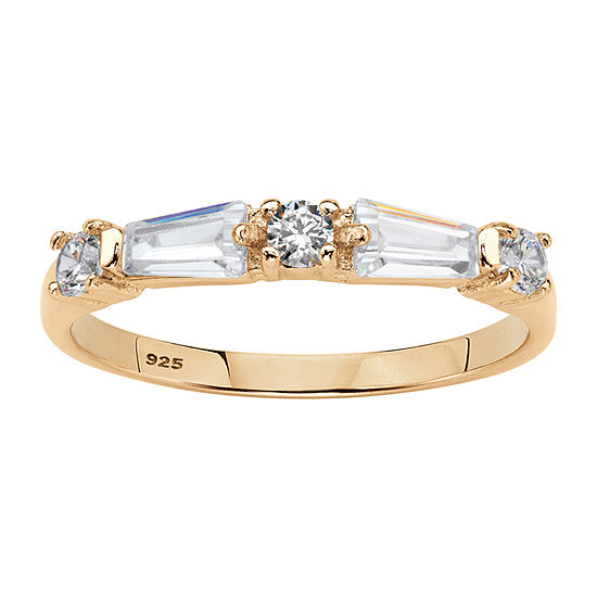 Diamonart Womens 2MM 1 CT. T.W. White Cubic Zirconia 14K Gold Over Silver Band
