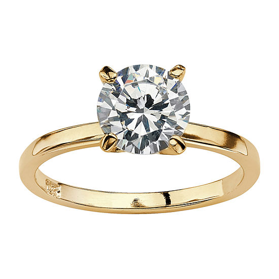 Diamonart Womens 2 CT. T.W. White Cubic Zirconia 14K Gold Over Silver Engagement Ring